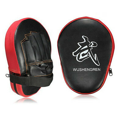Pair Muay Thai MMA Boxing Kick Punch Pads Hand Target Focus Training Mitts Red
