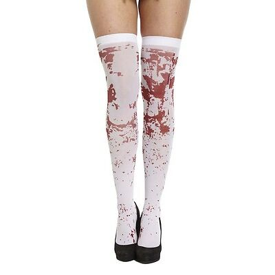 Ladies Bloody Stained Stocking Zombie Halloween Nurse School Fancy Dress Costume