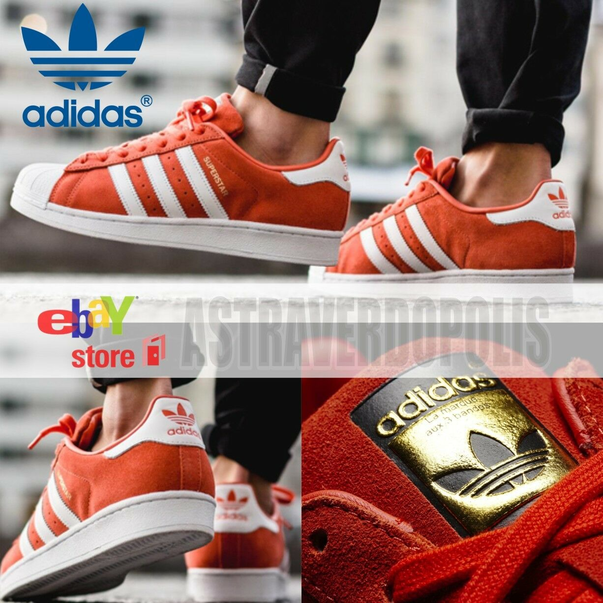 ADIDAS Uomo SHOES ORIGINALS SUPERSTAR ORANGE SUEDE SHOES Uomo S75140 GAZELLE SIZE 8 9.5 10 2b573c