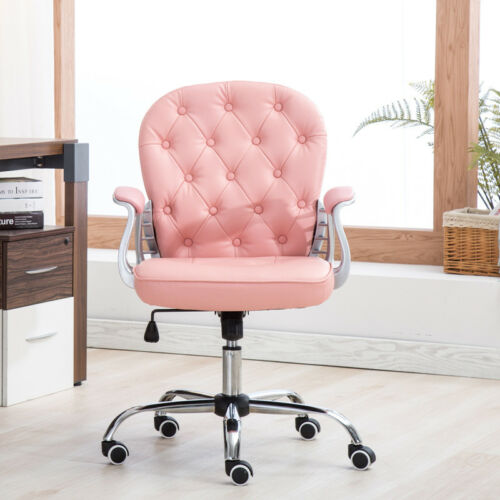 Adjustable Office Swivel Chairs Home Computer Desk Seat Steel Feet Button Back