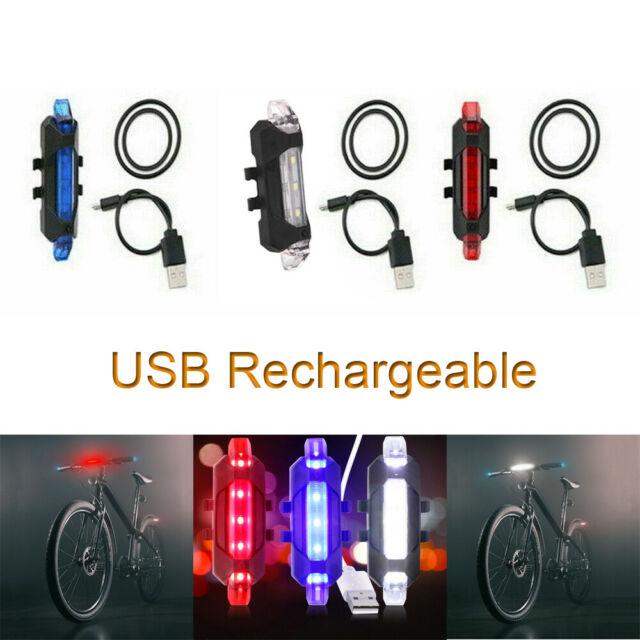 Bicycle Rear Lights Rechargeable Bike Tail Light LED Warning Safety Smart Lamp