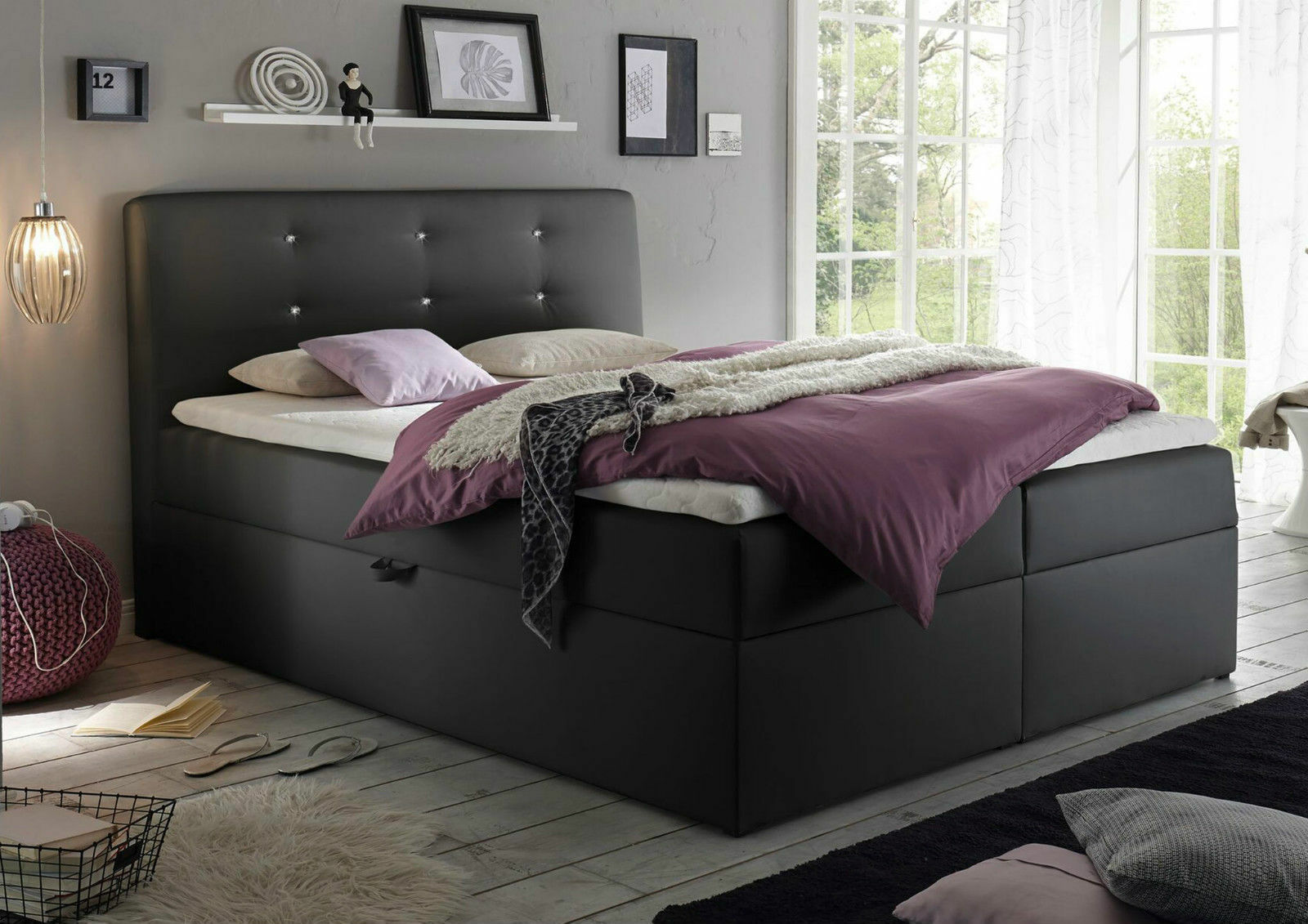 180x200 cm boxspringbett bett komfortbett hotelbett schlafzimmerbett schwarz ebay. Black Bedroom Furniture Sets. Home Design Ideas