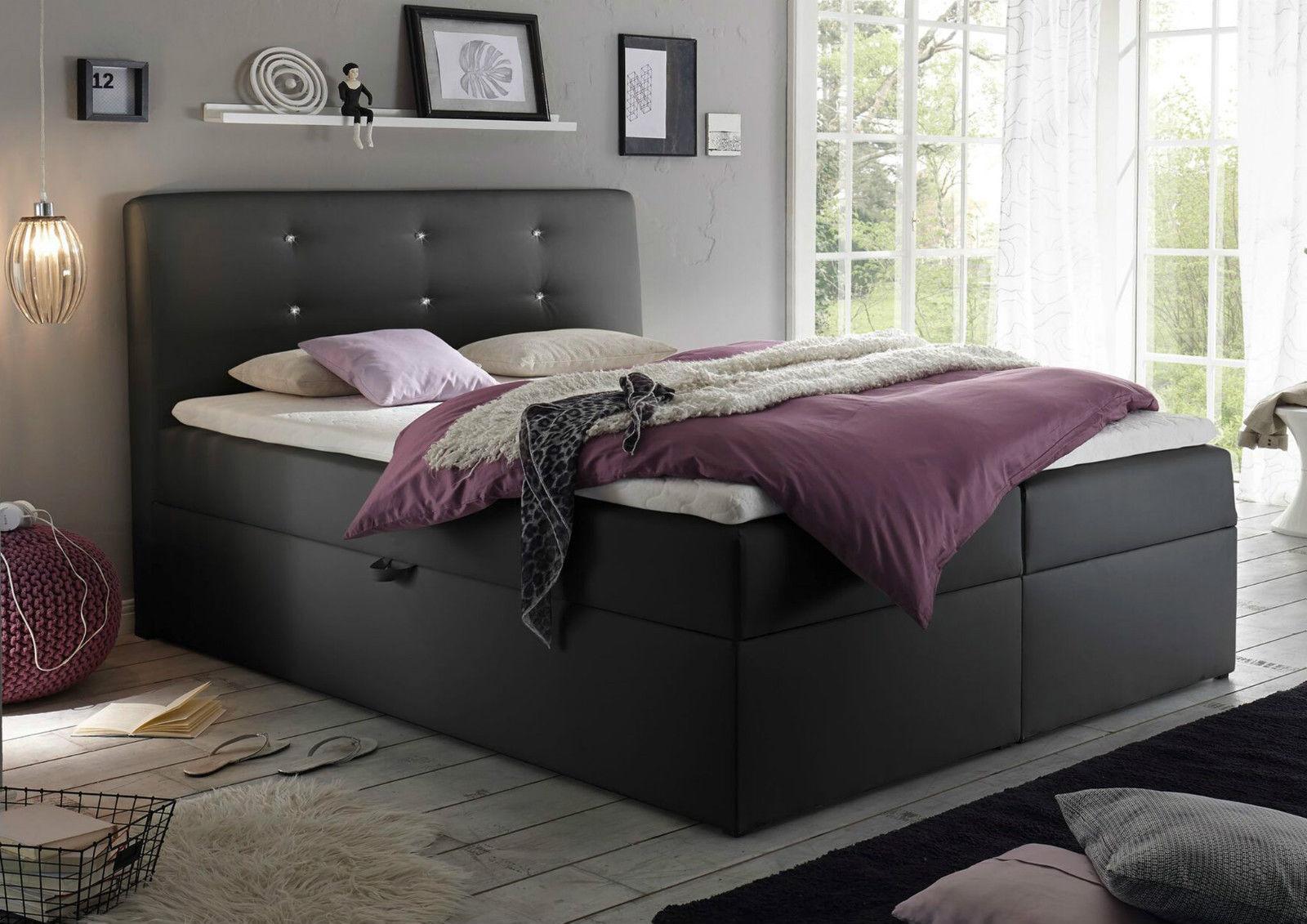 180x200 cm boxspringbett bett komfortbett hotelbett schlafzimmerbett schwarz ebay. Black Bedroom Furniture Sets. Home Design Ideas