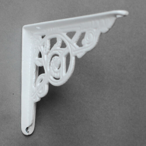 "2 x WHITE 5x4/"" SMALL ANTIQUE CAST IRON VICTORIAN WALL SHELF BRACKETS BR02wx2"