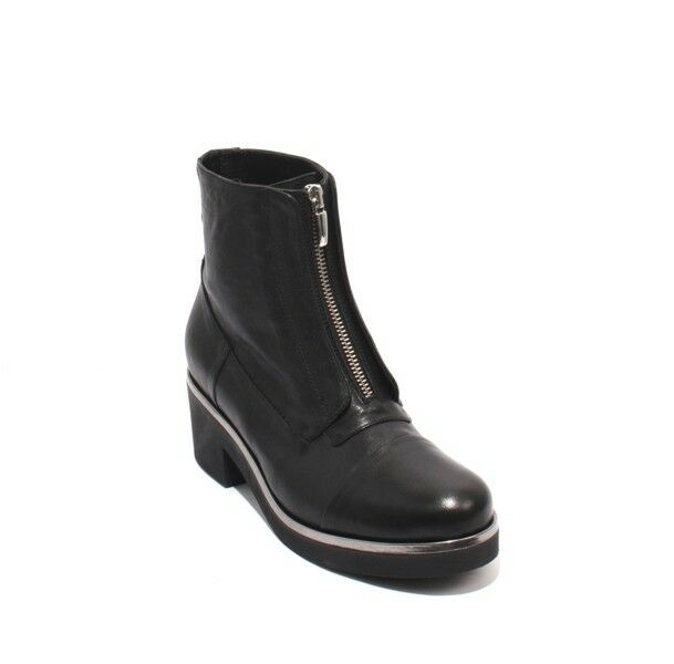 MOT-CLe 662 Black Silver Silver Silver Leather Platform Zip-Up Ankle Heel Boots 37   US 7 5270b0