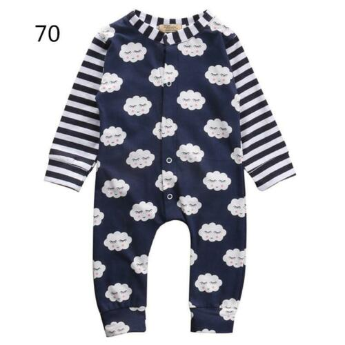 Toddler Newborn Baby Boys Super Cute Cloud Printed Bodysuit Front Button Down BE