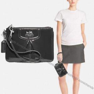 nwt coach 46621 qb pr madison small patent leather wristlet pewter rh ebay com