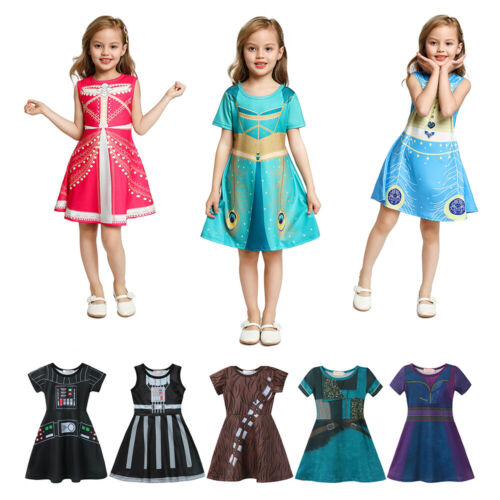 Kids Dress Up Girls Maleficent Audrey Mal Uma Cosplay Costumes Playing Outfits