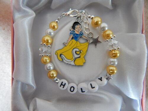 Disney Princess Personalizado Pulsera y collar conjunto Belle Blancanieves Caja Bolsa