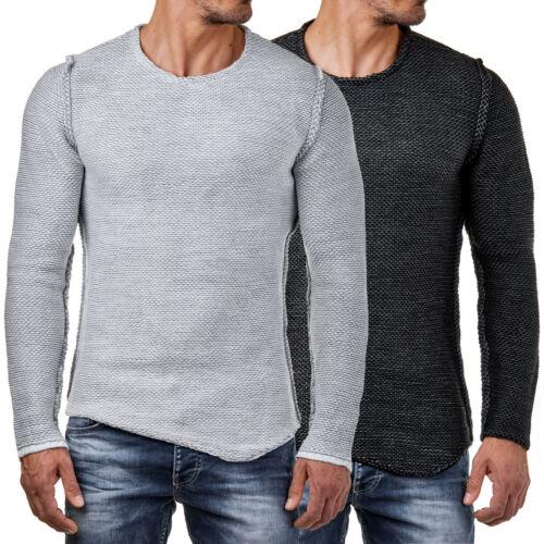 EightyFive EF15031 Herren Winter Grob Strick Pullover Slim Fit Schwarz Weiß S-XL
