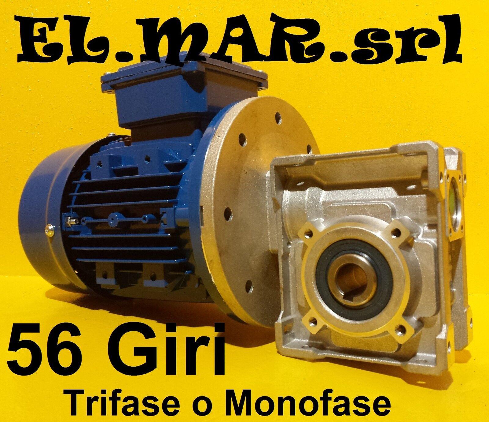 Motoriduttore 56 Giri HP 0,5 Riduttore di giri Motore Monofase Trifase Kw 0,37