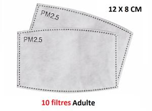 LOT de 10 filtres de rechange _ 5 Couches Charbon PM2.5 _  Pour Masque ***