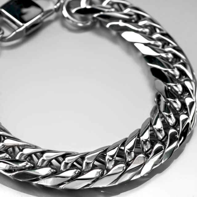 Siver bikies chain Stainless Steel Bracelet thick heavy solid 23.5cm