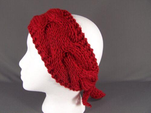 Red knot turban style crochet ear warmer muff head band wrap knit stretch