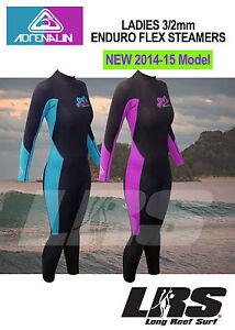 NEW-2014-15-Adrenalin-ENDUROFLEX-Ladies-Steamer-Wetsuit-Long-arm-amp-Leg-3-2mm
