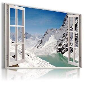 ALPS WINTER SNOW MOUNTAINS 3D Window View Canvas Wall Art W244 NO FRAME MATAGA .
