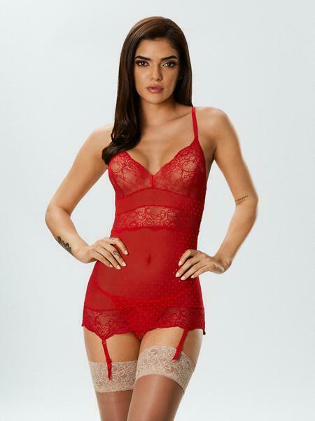 Ann Summers Le Scandaleux Nuisette Entrejambe Set, Rouge-tailles Xs-xxl