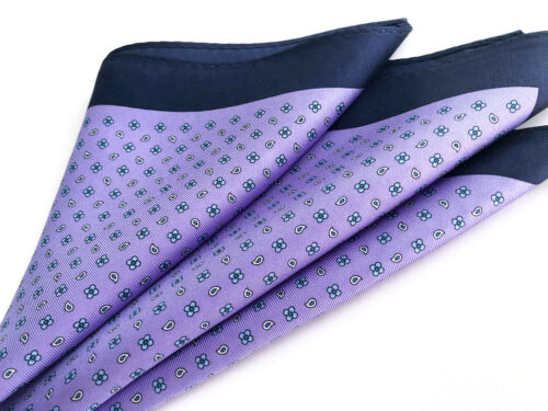 100/% PURE SILK Men Suit Pocket Square Scarf Polka Dot Hanky Floral Handkerchief