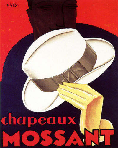 POSTER CHAPEAUX MOSSANT WHITE HAT MEN/'S FASHION FRENCH VINTAGE REPRO FREE S//H