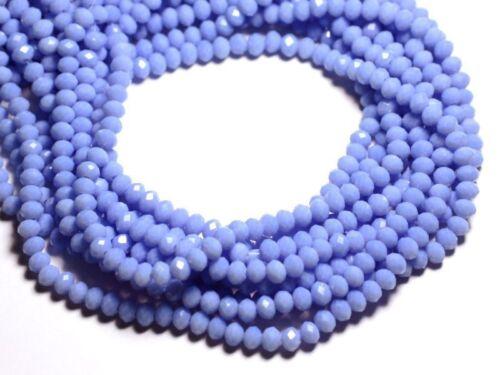 Perles Verre opaque Fil 39cm 90pc env Rondelles Facettées 6x4.5mm Bleu Mauve