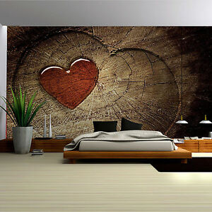 vlies tapete fototapete foto poster herz holz baum natur rot braun 13n135vem ebay. Black Bedroom Furniture Sets. Home Design Ideas