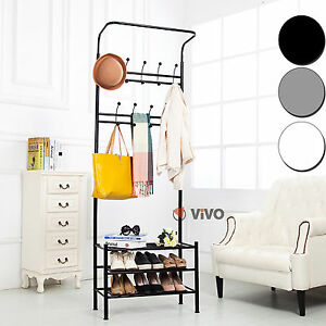 Metal-Coat-Stand-Shoe-Rack-Hanger-Handbag-Umbrella-Hat-Wall-Hooks-Shelves-Shelf