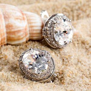 Fashion-Women-Silver-Plated-Ear-Stud-Hoop-Crystal-Rhinestone-Earrings-Jewelry