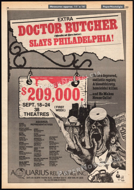 DOCTOR BUTCHER_/_ZOMBIE HOLOCAUST__Orig. 1981 Trade AD promo_poster__UNCONSCIOUS