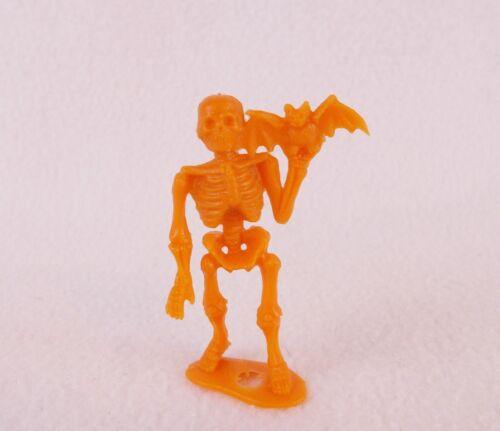 "Vintage 1960s MPC Orange Skeleton with Bat 2.5"" Figure Toy Creepy Horror"