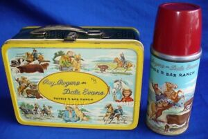 VINTAGE ROY ROGERS DALE EVANS DOUBLE R BAR RANCH METAL LUNCH BOX W/THERMOS LQQK