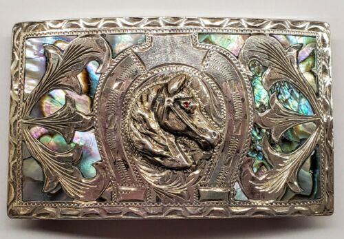 SilverNickel Silver Horse Belt Buckle Abalone Inlay Signed Alpaca Mexico Vintage Western Wear Unisex Belt Buckle Handcrafted Buckle