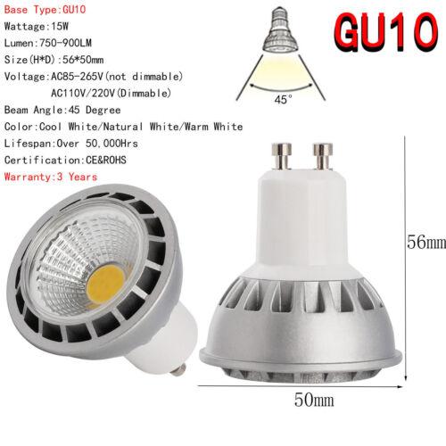 15 Watt GU10 MR16 E27 E26 15W Dimmable LED SpotLight COB Bulb High Power Lamp