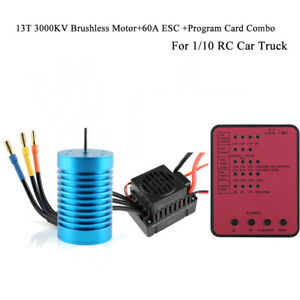 13T-3000KV-Brushless-Motor-amp-60A-ESC-amp-Program-Card-Combo-For-1-10-RC-Car-Truck