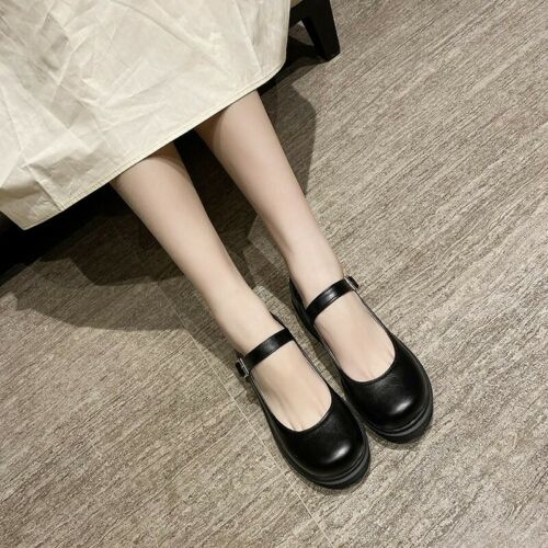 Details about  /Ladies Lolita Buckle Strappy Mary Janes Pumps Chunky Low Heels College Shoes
