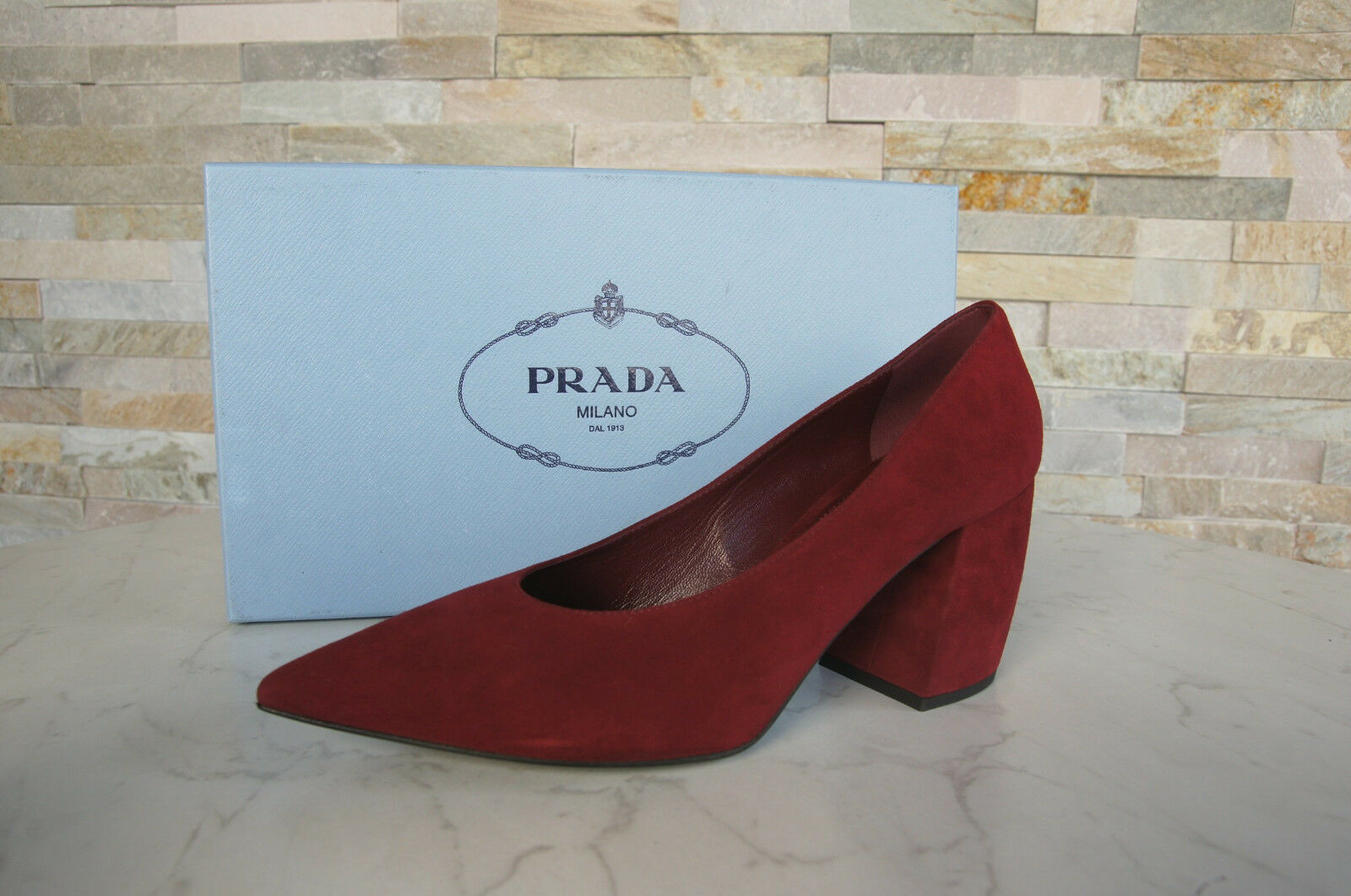 Luxury Prada Size 38,5 Pumps shoes High Heels 1I762H Red Purple New Previously