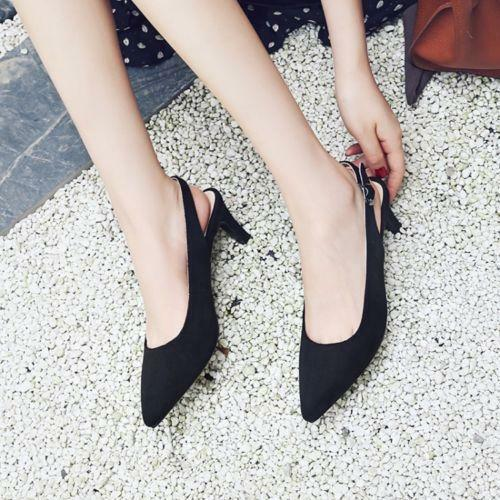 Chic Ladies Mid Heels Pointy Toe Womens Slingbacks Pumps Party Shoes Plus Size #