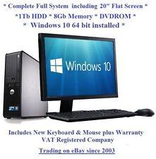 "Fast Windows 10 Full System 20"" Monitor Dell 780 8GB 1TB Desktop PC Computer"