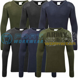 Men/'s Army Military V Neck SWEATER WORK Warm Long Lasting JUMPER TOP NATO NEW
