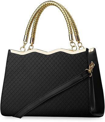 Damentasche Bowlingbag mit Prägungen Henkeltasche beige schwarz