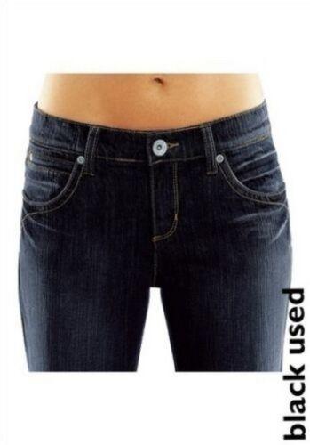 Nuovo Donna Black Used Pantaloni Nero Stretch l34 his H.I.S Jeans Lunga-TG 38 76