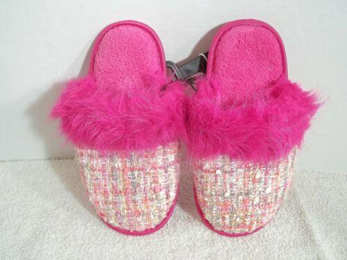 NEW Girls Fuchsia Boa Scuff Slippers-13//1 OR 2//3