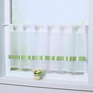 Details zu Scheibengardinen Küche Gardinen Küchengardinen Bistrogardine  Weiß Grün Modern