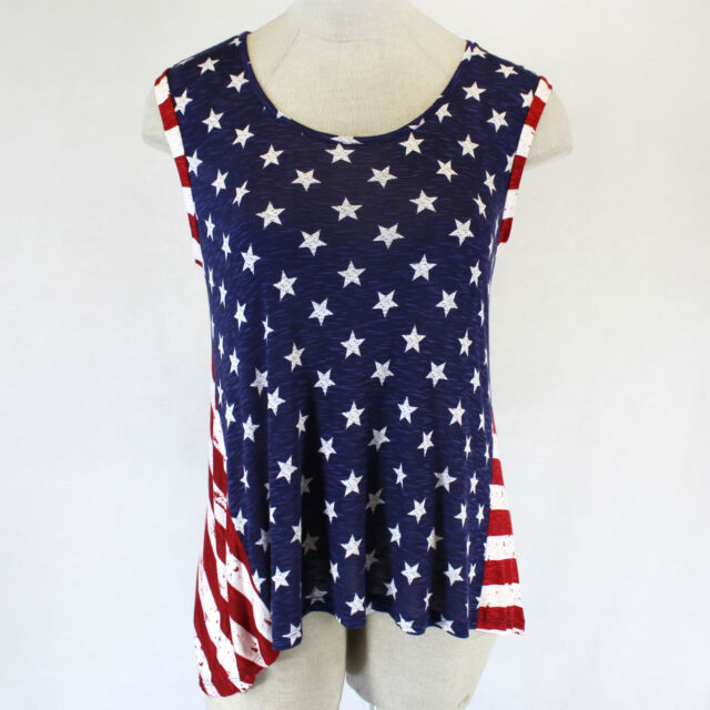 NEW Lane Bryant Plus Size American Flag Patriotic Summer Top Blouse 14/16