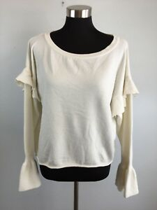 Zara Knit Womens Sweater L Large Pullover Ruffle Bell Sleeve