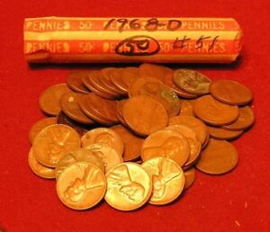 1977-D LINCOLN MEMORIAL CENT PENNY 50 COIN ROLL CIRCULATED COPPER