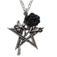 Black Rose Pewter Pentagram Pendant! Occult Pagan Star Chain Necklace Goth Metal