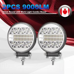 Round LED Work Lights 2Pcs 90W LED Pods Flood Spot Beam Light Bar Driving Light