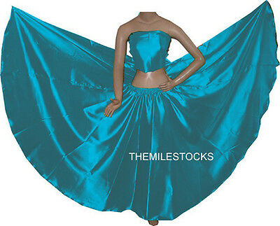 TMS Satin Full Circle Skirts Belly Dance Costume Gypsy Tribal Troup | 27 Colors