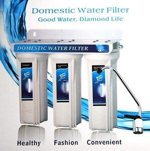 Under Sink Three Stage Domestic Water Filter System Ebay