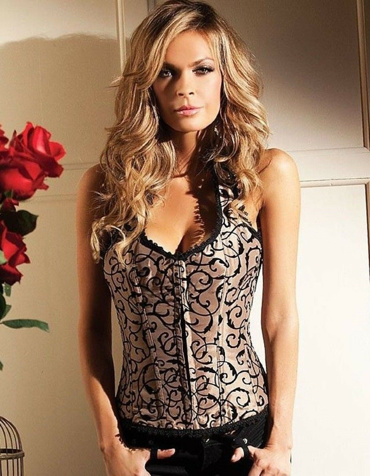 Be Wicked Claudette Mocha Halter Corset with Lace Up Back